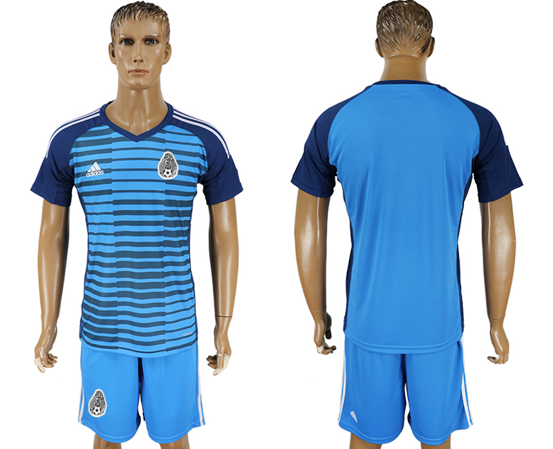 Mexico Lake Blue Goalkeeper 2018 FIFA World Cup Soccer Jersey