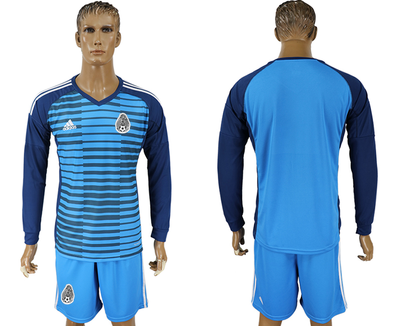 Mexico Lake Blue Long Sleeve Goalkeeper 2018 FIFA World Cup Soccer Jersey