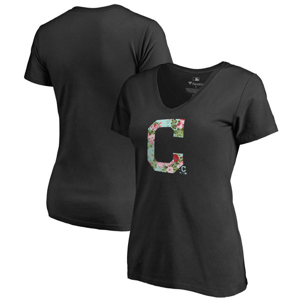 Cleveland Indians Fanatics Branded Women's Lovely V Neck T-Shirt Black