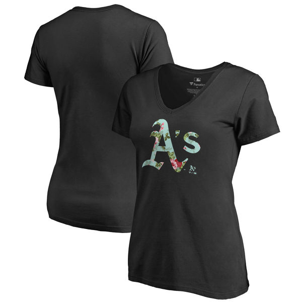 Oakland Athletics Fanatics Branded Women's Lovely V Neck T-Shirt Black
