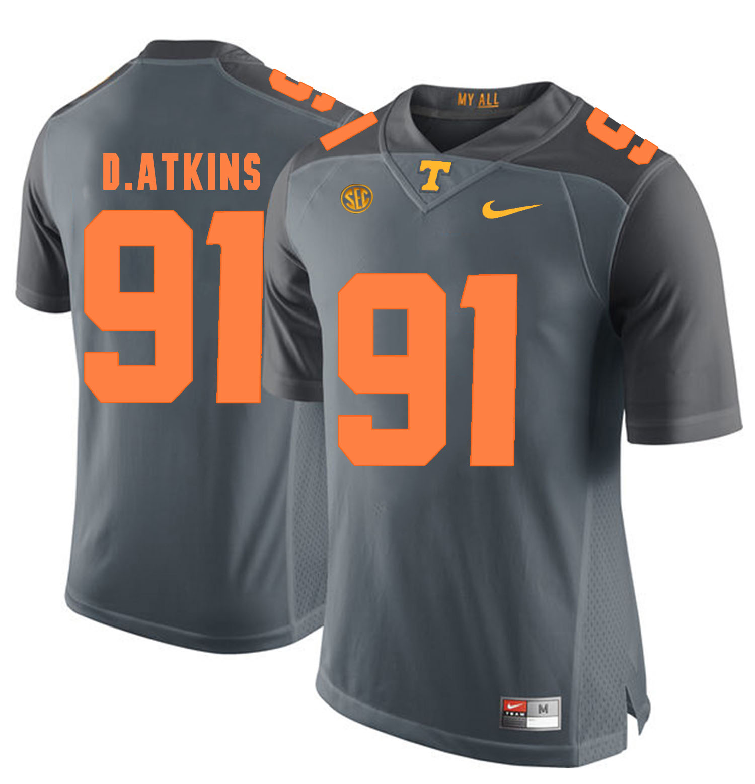 Tennessee Volunteers 91 Doug Atkins Gray College Football Jersey
