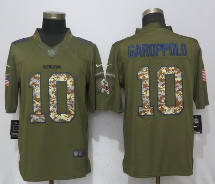 Nike 49ers 10 Jimmy Garoppolo Green Salute To Service Limited Jersey