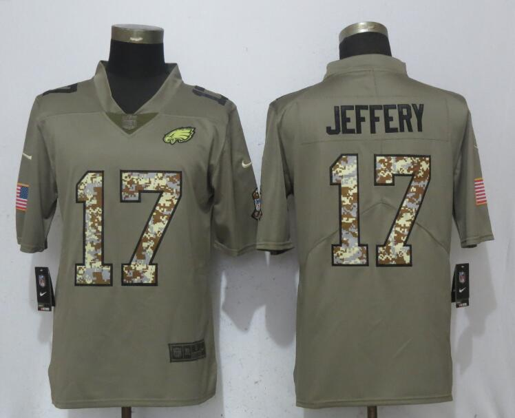 Nike Eagles 17 Alshon Jeffery Olive Camo Salute To Service Limited Jersey