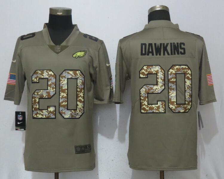 Nike Eagles 20 Brian Dawkins Olive Camo Salute To Service Limited Jersey
