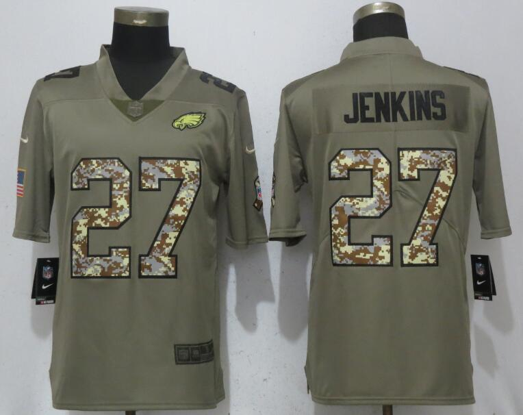 Nike Eagles 27 Malcolm Jenkins Olive Camo Salute To Service Limited Jersey