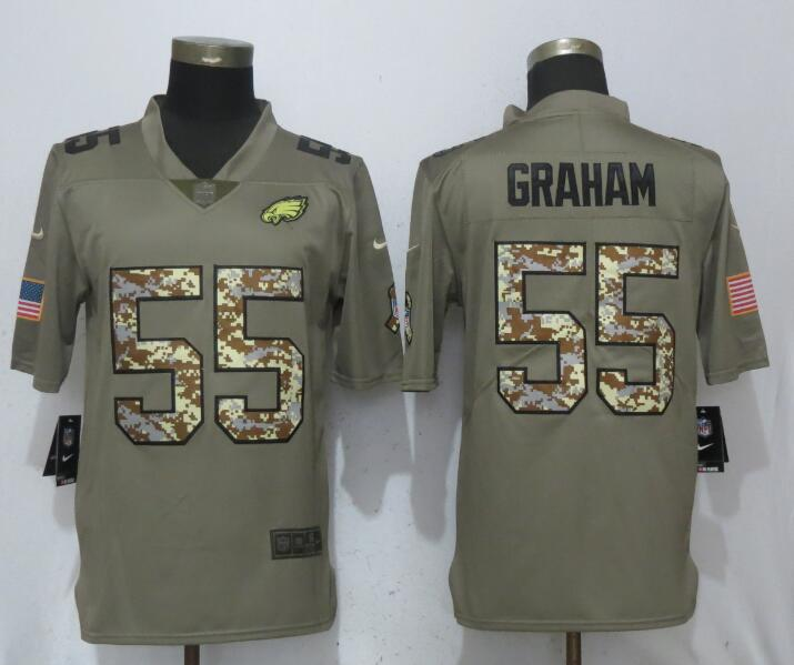Nike Eagles 55 Brandon Graham Olive Camo Salute To Service Limited Jersey