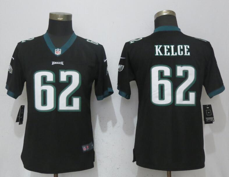 Nike Eagles 62 Jason Kelce Black Women Vapor Untouchable Player Limited Jersey