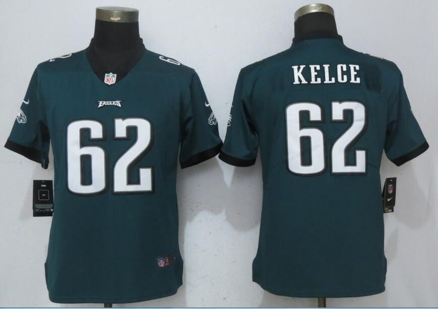 Nike Eagles 62 Jason Kelce Green Women Vapor Untouchable Player Limited Jersey