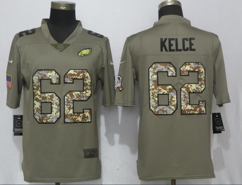 Nike Eagles 62 Jason Kelce Olive Camo Salute To Service Limited Jersey