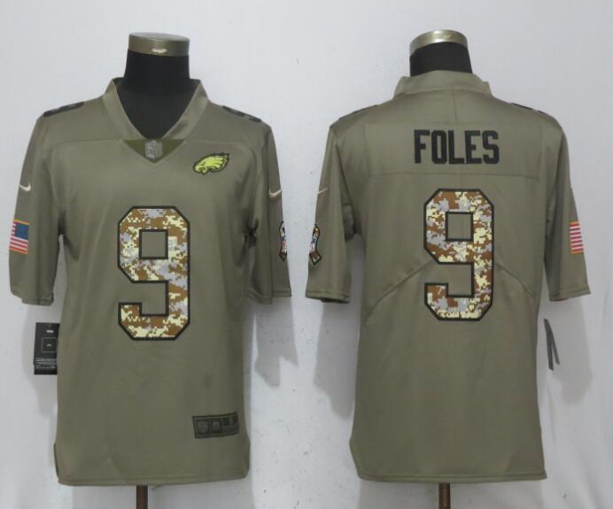 Nike Eagles 9 Nick Foles Olive Camo Salute To Service Limited Jersey