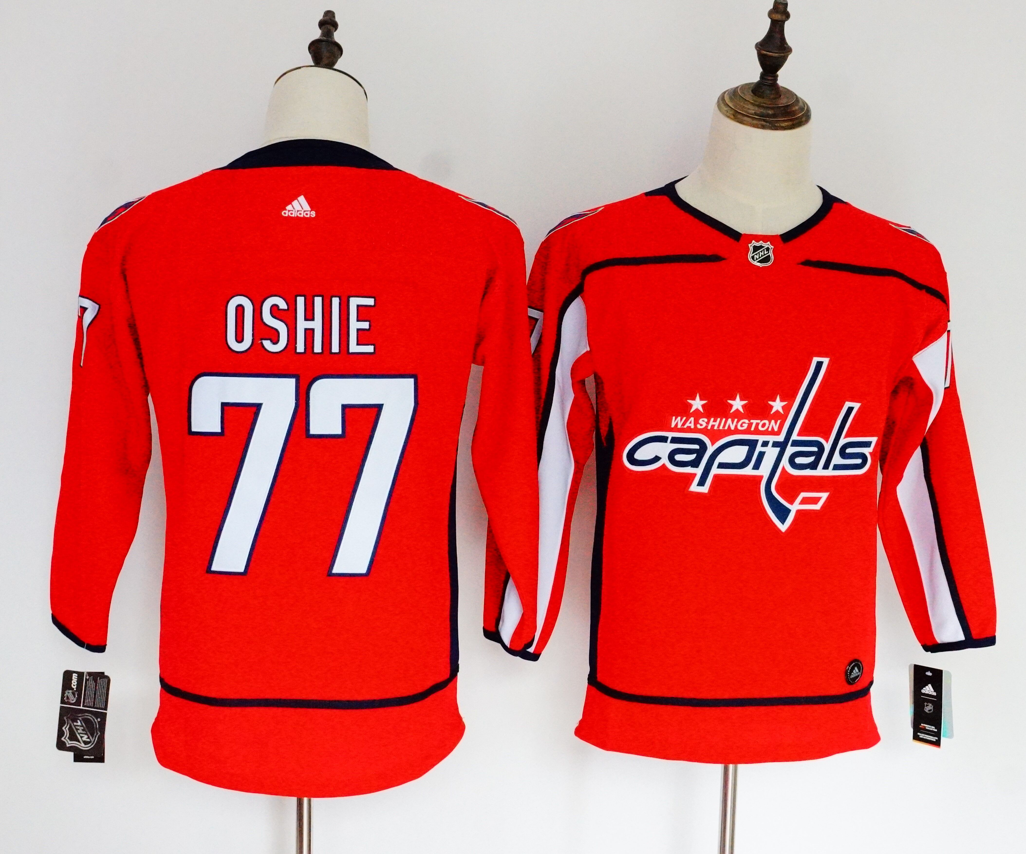 Capitals 77 T.J. Oshie Red Women Adidas Jersey