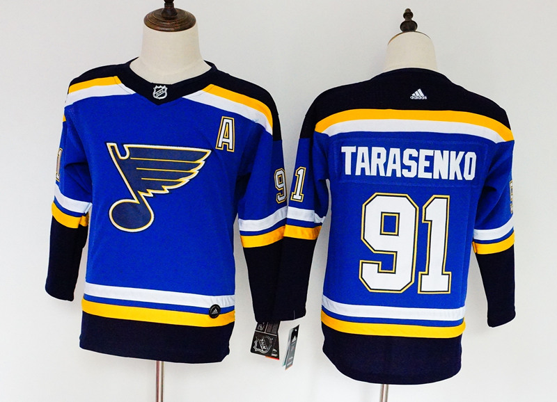 Blues 91 Vladimir Tarasenko Blue Youth Adidas Jersey