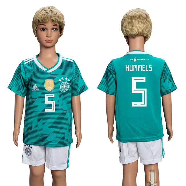 Germany 5 HUMMELS Away Youth 2018 FIFA World Cup Soccer Jersey