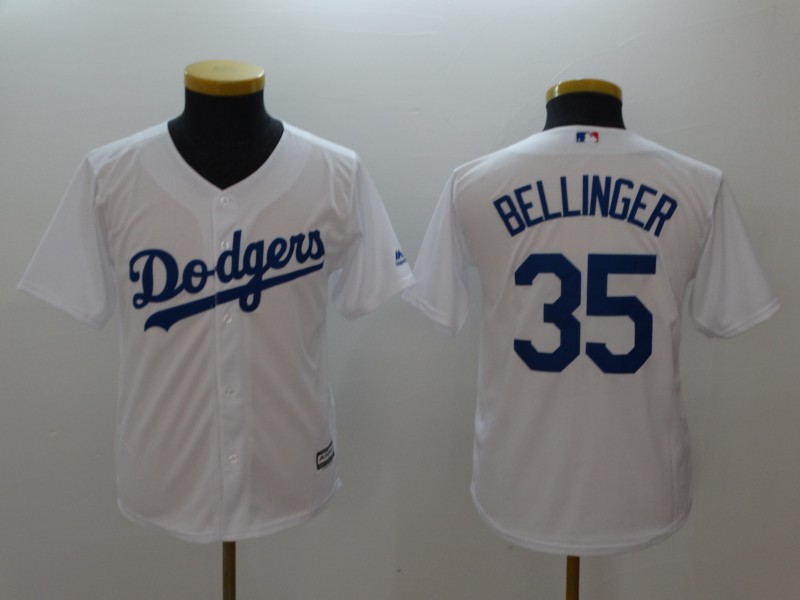 Dodgers 35 Cody Bellinger Gray White Youth Cool Base Jersey