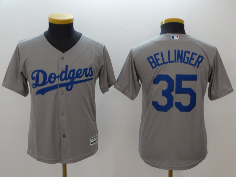 Dodgers 35 Cody Bellinger Gray Youth Cool Base Jersey