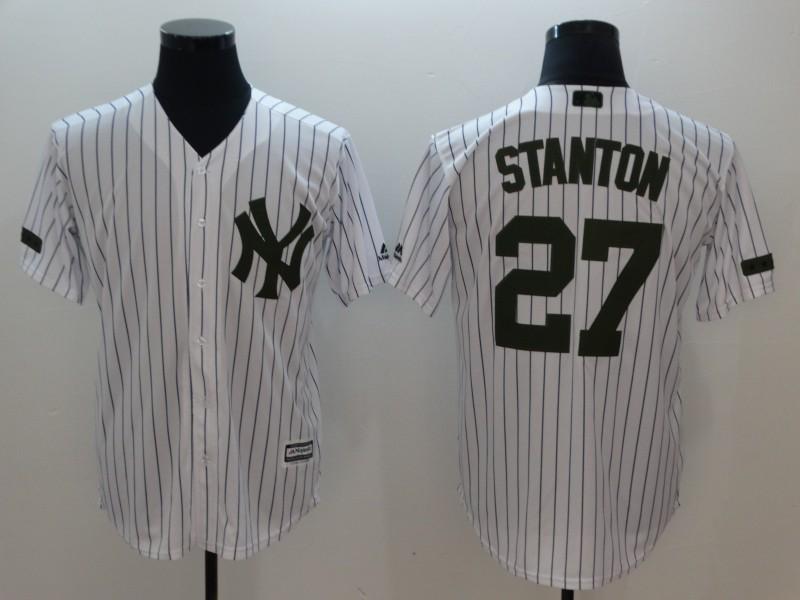 Yankees 27 Giancarlo Stanton White Olive Cool Base Jerey