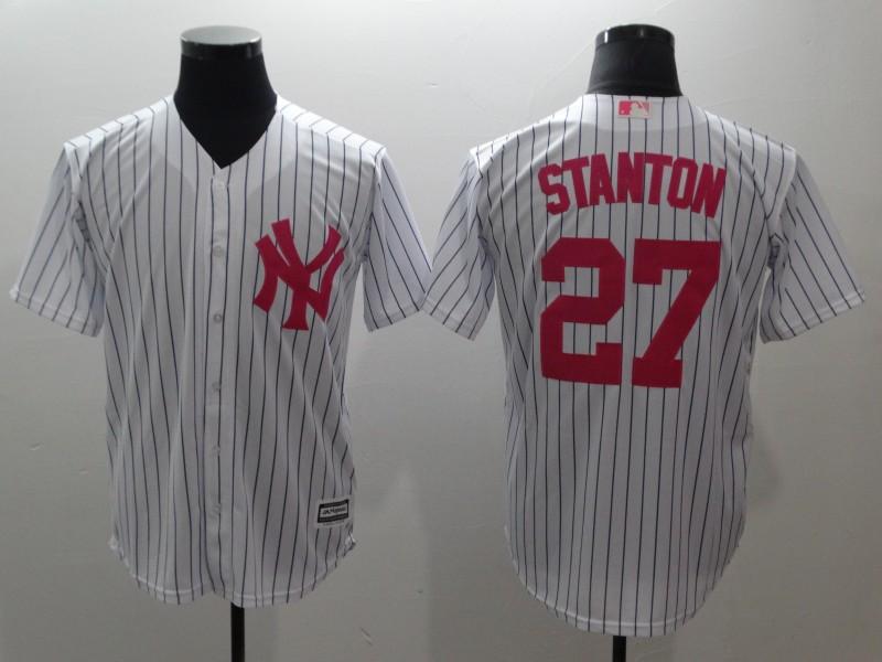 Yankees 27 Giancarlo Stanton White Pink Cool Base Jersey