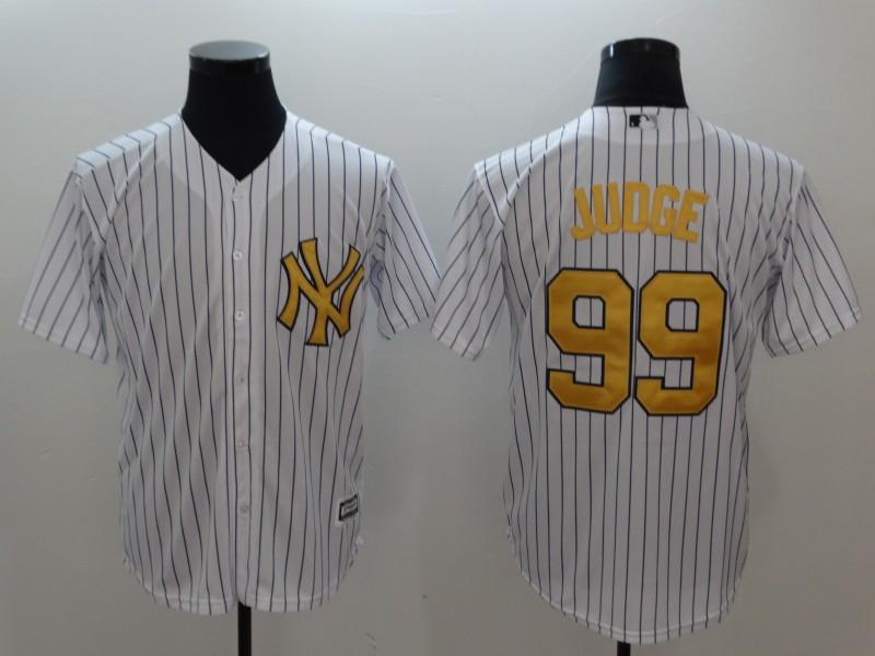 Yankees 99 Aaron White Gold Cool Base Jersey
