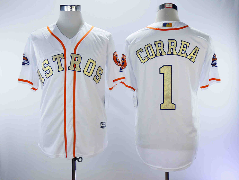 Astros 1 Carlos Correa White 2018 Gold Program Cool Base Jersey
