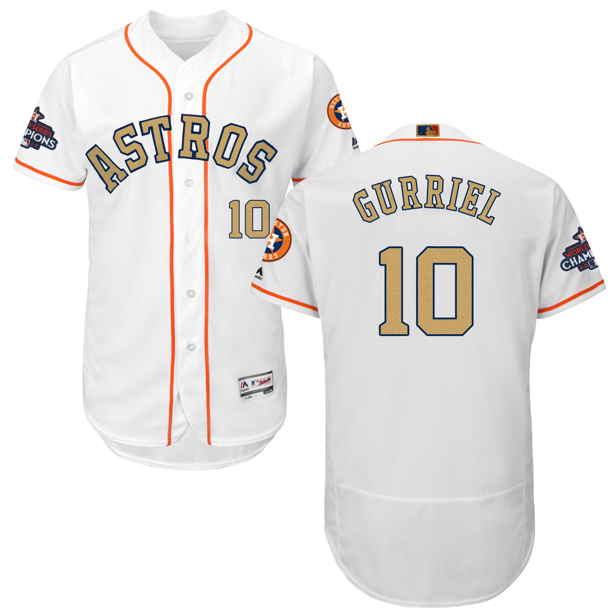 Astros 10 Yuli Gurriel White 2018 Gold Program Flexbase Jersey