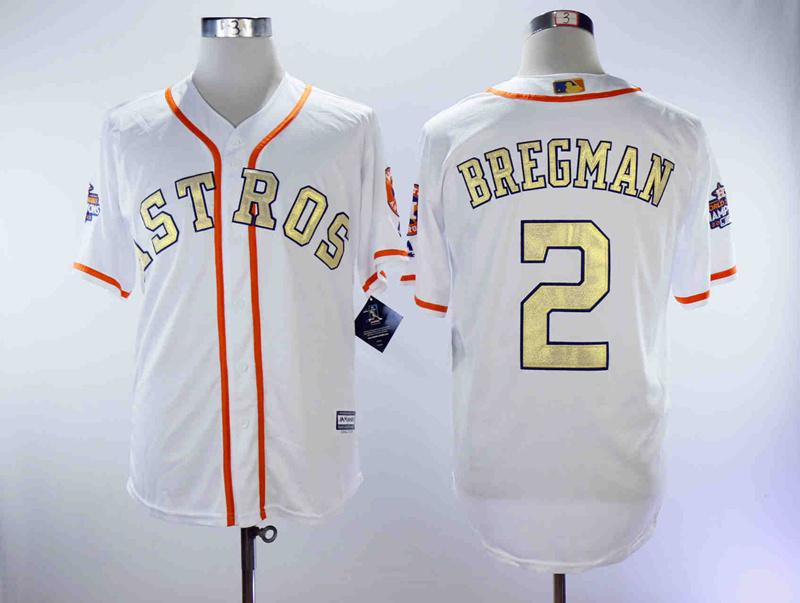 Astros 2 Alex Bregman White 2018 Gold Program Cool Base Jersey