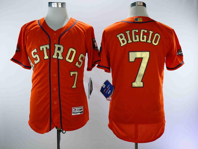 Astros 7 Craig Biggio Orange 2018 Gold Program Flexbase Jersey
