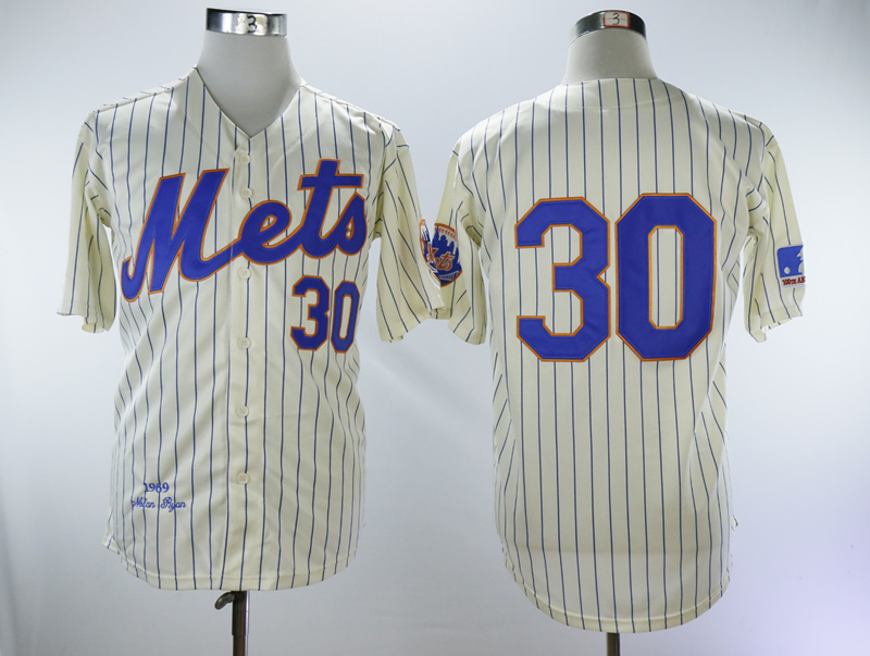 Mets 30 Nolan Ryan Cream 1969 Throwback Jersey