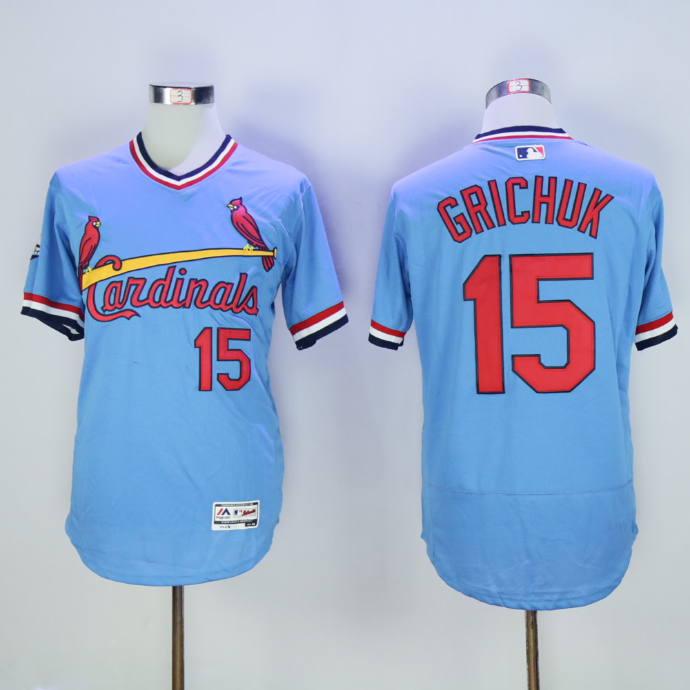Cardinals 15 Randal Grichuk Light Blue Cooperstown Flexbase Jersey