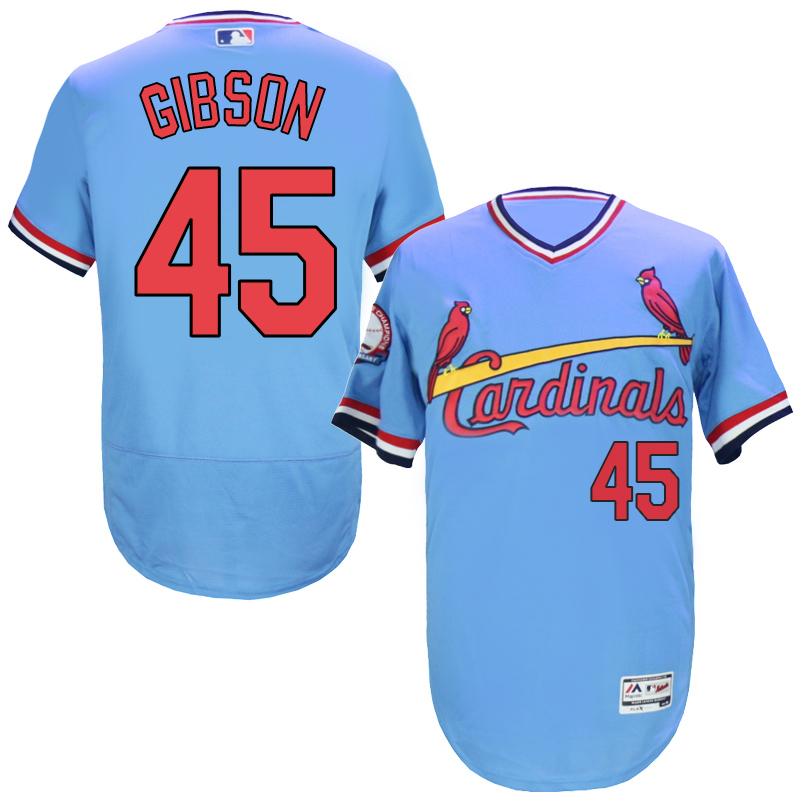 Cardinals 45 Bob Gibson Light Blue Cooperstown Flexbase Jersey