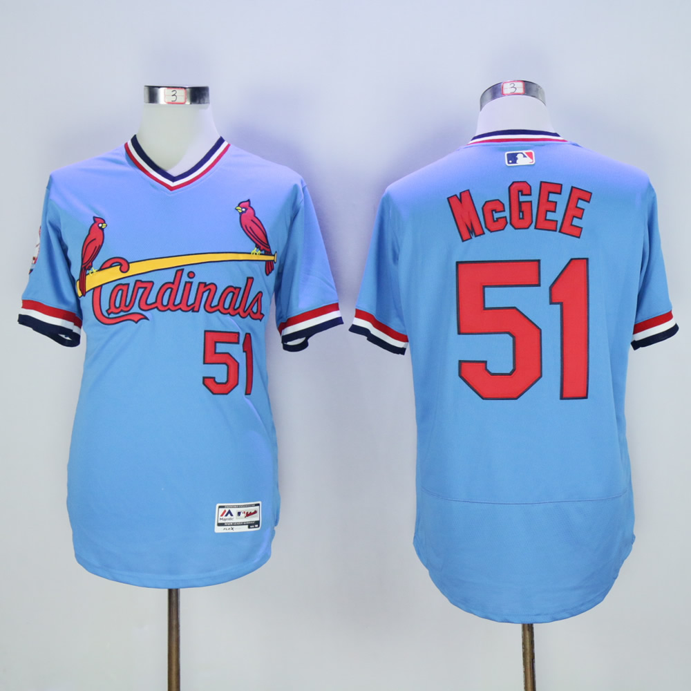 Cardinals 51 Willie McGee Light Blue Cooperstown Flexbase Jersey