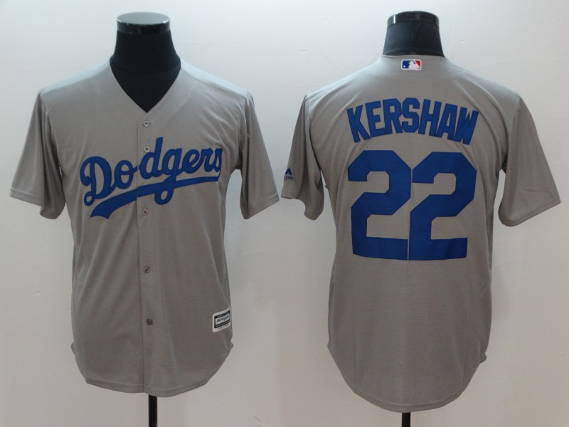 Dodgers 22 Clayton Kershaw Gray Cool Base Jersey