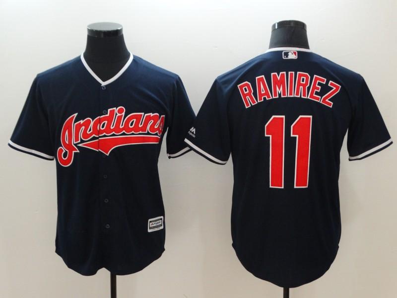 Indians 11 Jose Ramirez Navy Cool Base Jersey