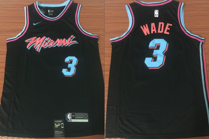Heat 3 Dwyane Wade Black City Edition Nike Swingman Jersey