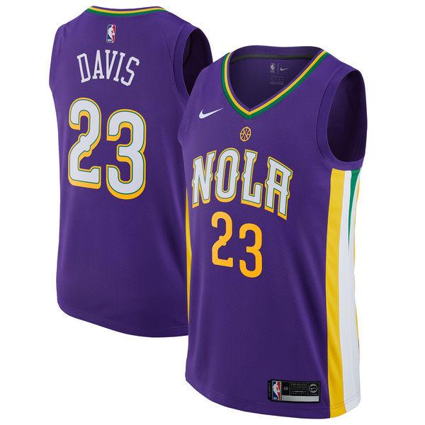 Pelicans 23 Anthony Davis Purple City Edition Nike Swingman Jersey