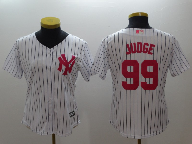 Yankees 99 Aaron Judge White Women Mother's Day Cool Base Jersey