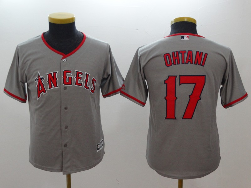 Angels 17 Shohei Ohtani Gray Youth Cool Base Jersey