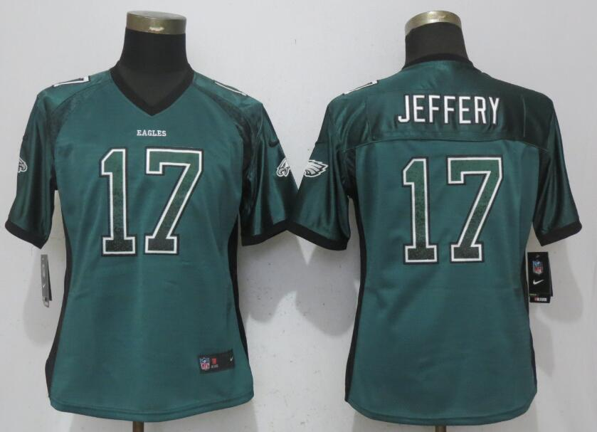 Nike Eagles 17 Alshon Jeffery Green Women Drift Fashion Jersey
