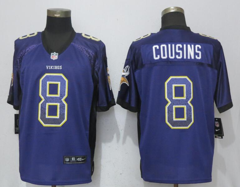Nike Vikings 8 Kirk Cousins Purple Drift Fashion Elite Jersey