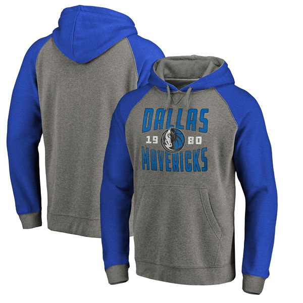 Dallas Mavericks Fanatics Branded Ash Antique Stack Tri Blend Raglan Pullover Hoodie