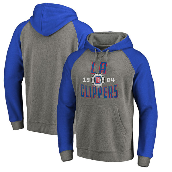 LA Clippers Fanatics Branded Ash Antique Stack Tri Blend Raglan Pullover Hoodie