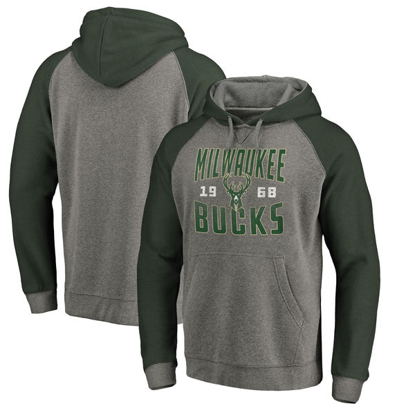 Milwaukee Bucks Fanatics Branded Ash Antique Stack Tri Blend Raglan Pullover Hoodie