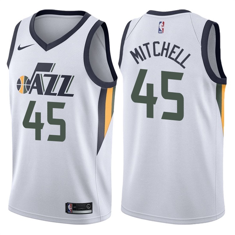 Jazz 45 Donovan Mitchell White Nike Swingman Jersey(Without the sponsor's logo)
