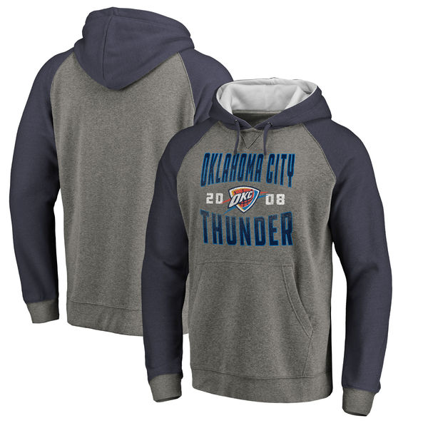 Oklahoma City Thunder Fanatics Branded Ash Antique Stack Tri Blend Raglan Pullover Hoodie