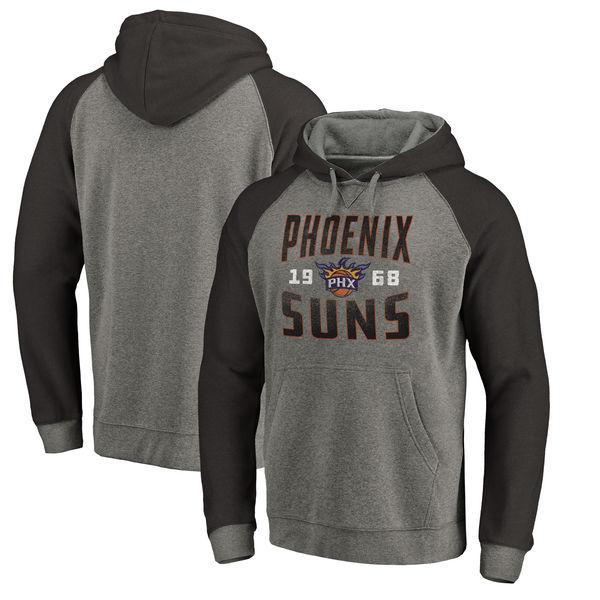 Phoenix Suns Fanatics Branded Ash Antique Stack Tri Blend Raglan Pullover Hoodie