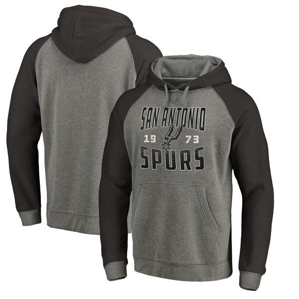 San Antonio Spurs Fanatics Branded Ash Antique Stack Tri Blend Raglan Pullover Hoodie