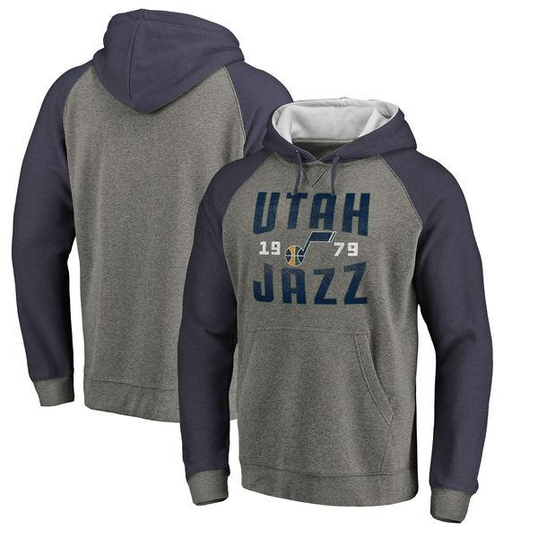 Utah Jazz Fanatics Branded Ash Antique Stack Tri Blend Raglan Pullover Hoodie