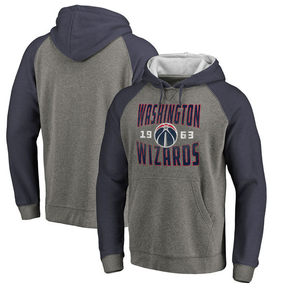 Washington Wizards Fanatics Branded Ash Antique Stack Tri Blend Raglan Pullover Hoodie