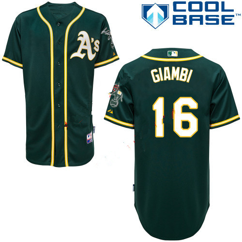 Athletics 16 Jason Giambi Green Cool Base Jerseys