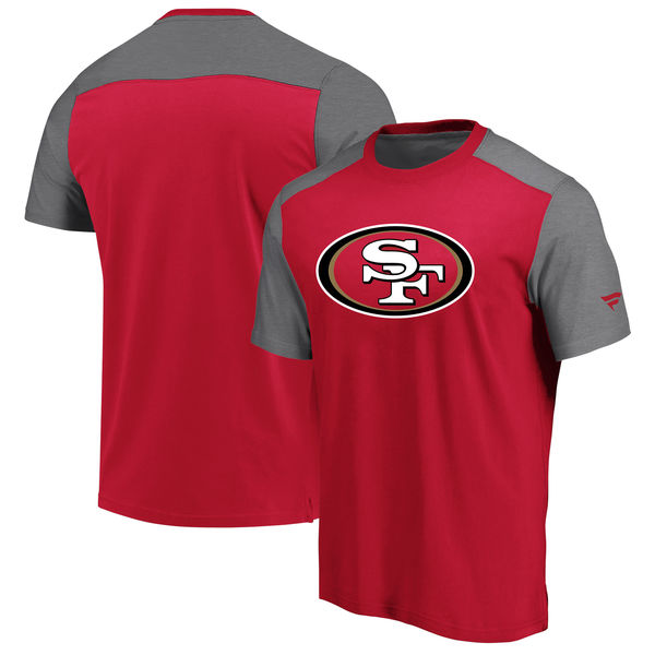 San Francisco 49ers NFL Pro Line by Fanatics Branded Iconic Color Block T-Shirt ScarletHeathered Gray