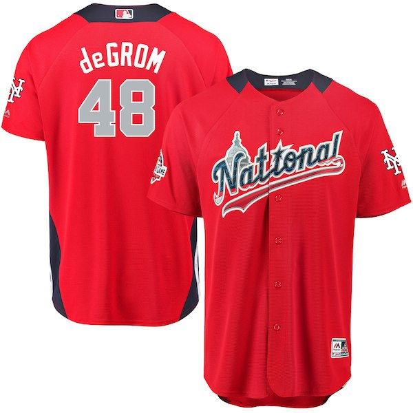 National League 48 Jacob deGrom Red 2018 MLB All-Star Game Home Run Derby Player Jersey